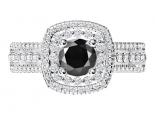 טבעת הולו 2 שורות יהלומים- יהלום שחור מרכזי