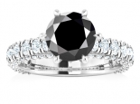 טבעת יהלום שחור סוליטר גבוהה