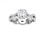 טבעת אירוסין סוליטר- טבעת טוויסט 3/4 קראט מרכזית