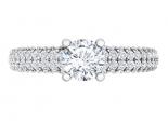 טבעת אירוסין משובצת יהלומים- חצי קראט מרכזית
