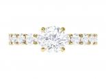 טבעת אירוסין יוקרתית לאישה וטבעת נישואין תואמת- 0.50 קראט מרכזית