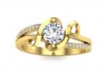 טבעת אירוסין מעוצבת- 0.50 קראט מרכזית