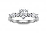 טבעת אירוסין זהב לבן- 1 קראט מרכזית
