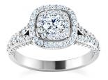 טבעת אירוסין הולו מעוצבת- 0.50 קראט מרכזית