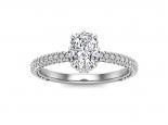 טבעת יהלום אובל לאישה- 0.50 קראט מרכזית