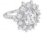 טבעת וינטג בעיצוב פרח 30 נקודות יהלום מרכזי