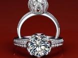 טבעת יהלום יוקרתית משובצת יהלומים 1 קארט יהלום מרכזי