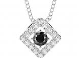 תליון יהלומים מעוצב- יהלום שחור מרכזי