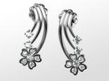 עגילים מזהב ויהלומים בעיצוב פרח
