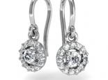 עגילי יהלומים יהלום מרכזי מוקף יהלומים