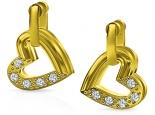 עגילים זהב ויהלומים לבבות