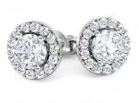 עגילי יהלומים צמודים -יהלום מרכזי שסביבו יהלומים
