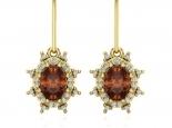 עגילי יהלומים עם אבן חן רובי - דגם דיאנה עיצוב וינטג'