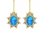 עגילי יהלומים עם אבן חן בלו טופז - דגם דיאנה עיצוב וינטג'