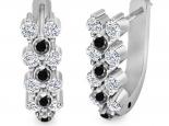 עגילי יהלומים לבנים ושחורים לאישה- עגילים תלויים