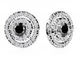 עגילי הולו משובצים יהלומים ויהלום שחור מרכזי