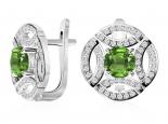 עגילי יהלומים מעוצבים- אבן חן מרכזית
