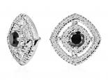 עגילי הולו משובצים יהלומים ויהלום שחור מרכזי צמודים לאוזן