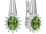 עגילי יהלומים בעיצוב וינטג'- אבן חן מרכזית