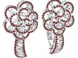 עגילי וינטג' בעיצוב פרח משובצים אבני חן
