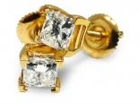 """זוג עגילי יהלומים """"פרינסס"""" קלאסיים משובצים באבנים מדהימות של 1.00 קראט - URANUS"""