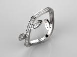 טבעת יהלומים עדינה בצורת עלים