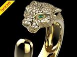 טבעת זהב ויהלומים בעיצוב נמר יהלומים