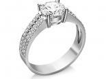 טבעת יהלום 1 קארט עם 3 שורות יהלומים בצדדים