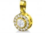 תליון יהלומים יהלום מרכזי 30 נקודות מסביבו יהלומים אפשרות סט עם תליון