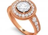 טבעת יהלומים בעיצוב יוקרתי יהלום שחור 1 קרט
