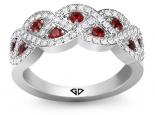 טבעת יהלומים בעיצוב קשתות אבן חן רובי