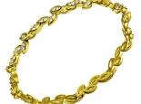 צמיד זהב בצורת עלים משובצים יהלומים