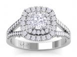 טבעת יהלומים יוקרתית 2 שורות יהלומים קארט יהלום מרכזי