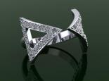 טבעת יהלומים 2 משולשים מיהלומים טבעת פתוחה