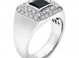 טבעת יהלומים לגבר- יהלום שחור מרכזי