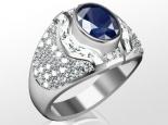 טבעת זהב לגבר עם יהלומים ואבן חן מרכזית אמרלד ברקת ספיר רובי 2-3