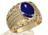 טבעת לגבר זהב ויהלומים עם אבן חן גדולה אמרלד ברקת רובי ספיר