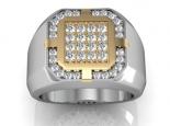 טבעת זהב לגבר עם יהלומים