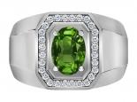טבעת זהב לגבר אמרלד ברקת איזמרלד אובל 2 קארט +