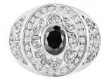 טבעת יהלומים גדולה ומרשימה- יהלום שחור מרכזי