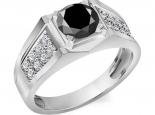 טבעת יהלומים לגבר יהלום שחור מרכזי