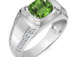 טבעת יהלומים לגבר אבן חן מרכזית