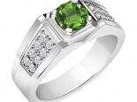 טבעת יהלומים עם אבן חן מרכזית לגבר