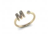 טבעת לאישה עם אות שם- M