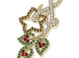תליון יהלומים ואבני חן בעיצוב  מיוחד