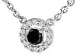 תליון HOLO יהלום מרכזי שחור 1 קרט שסביבו יהלומים