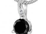 תליון סוליטר מעוצב יהלום 1 קארט שחור