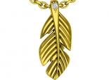 תליון זהב לשרשרת נוצה מזהב