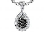 תליון יהלומים לאישה - תליון טיפה עם יהלומים שחורים