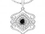 תליון יהלומים בעיצוב מיוחד יהלום שחור מרכזי